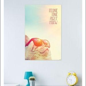Feline Fine Right MEOW cat poster NOS